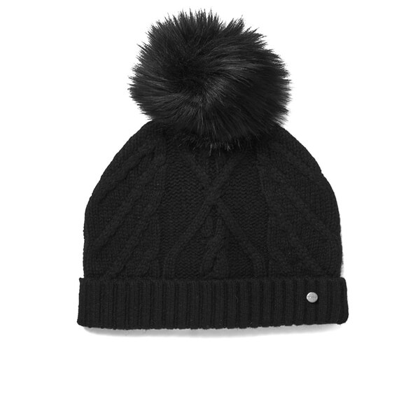 Ted Baker Women s Atexia Cable Knit Hat with Pom Pom - Black  Image 1 26deb4013b1