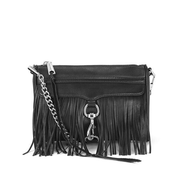 Rebecca Minkoff Women's Fringe Mini MAC Cross Body Bag - Black