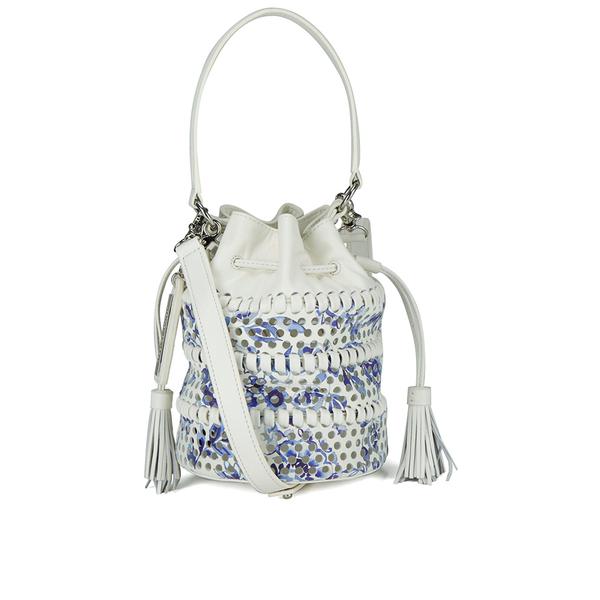 Loeffler Randall Women's Mini Industry Perforated Bucket Bag - Porcelain Print/White