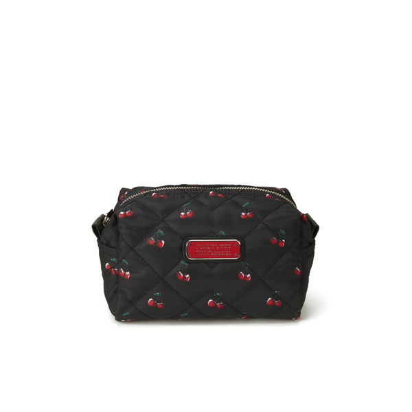 031e234a17db Marc By Jacobs Women S Crosby Quilted Nylon Large Cosmetic Bag Cherry Print  Black