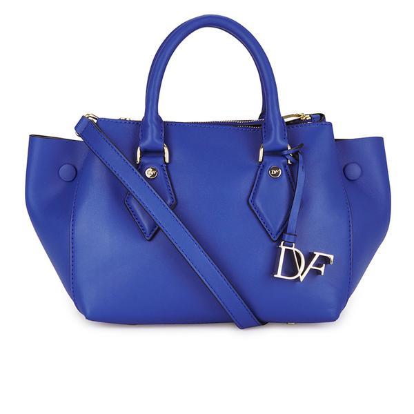 Diane von Furstenberg Women's Voyage Small Double Zip Leather Tote Bag - Blue