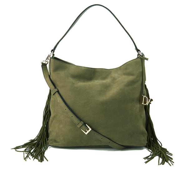 Diane von Furstenberg Women's Voyage Boho Nubuck Fringe Shoulder Bag - Olive