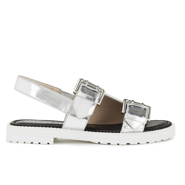 Opening Ceremony Women's Mirror Leather Double Strap Sandals - Silver
