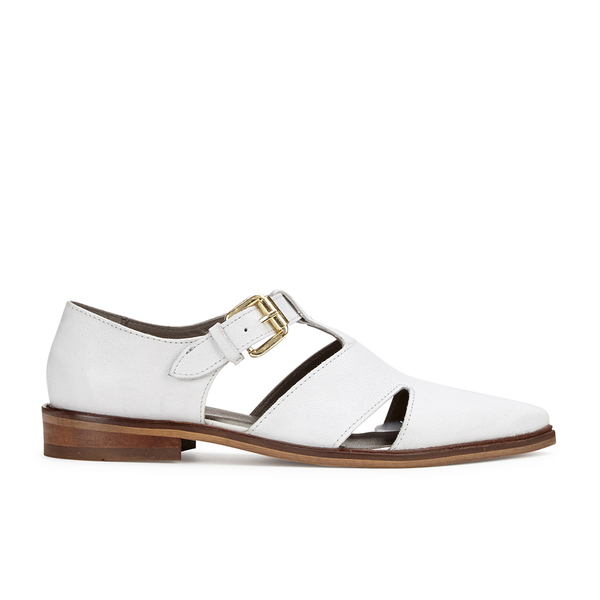 Hudson London Women's Liv Leather Pointed Toe Flats - White