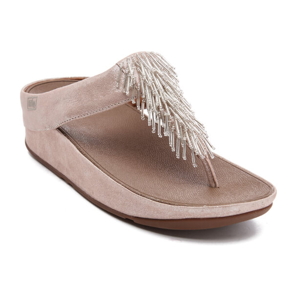 b2ab29dd98726f FitFlop Women s Cha Cha Leather Suede Tassel Toe-Post Sandals - Silver   Image