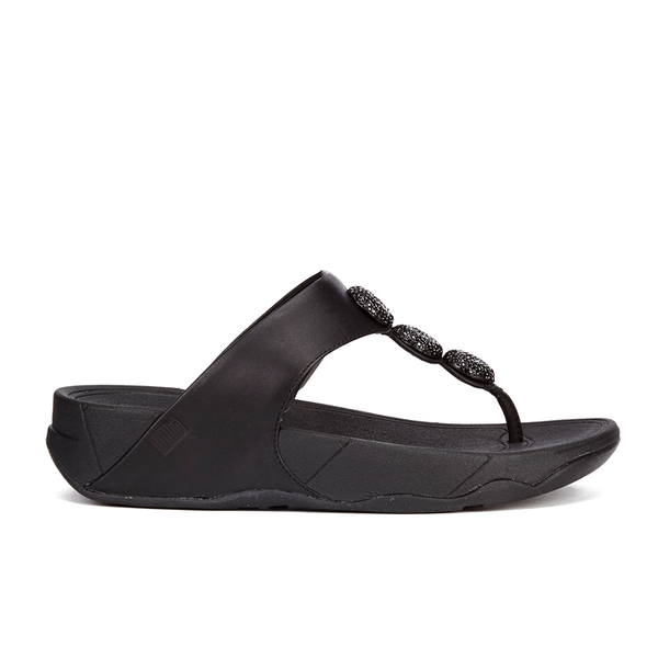 101925a2c80 FitFlop Women s Petra Sugar Leather Toe Post Sandals - All Black  Image 1