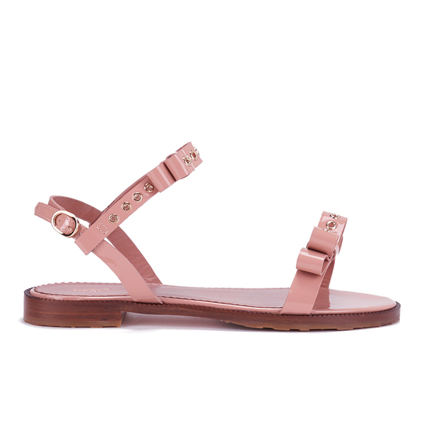 REDValentino Women's Eyelet Bow Flat Sandals - Nude