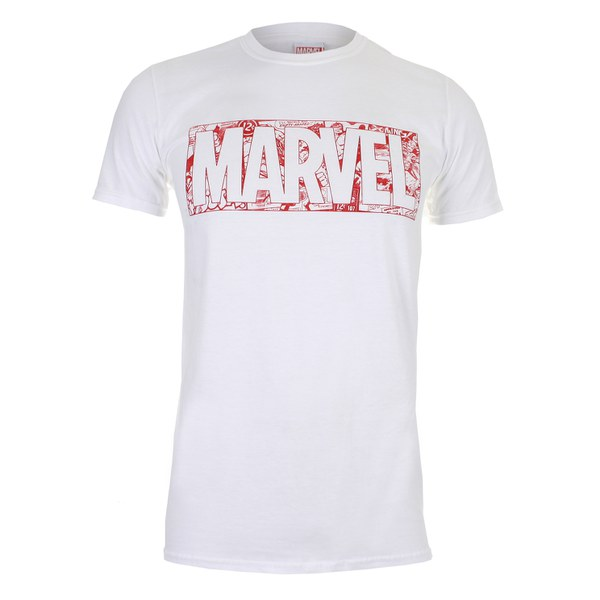 marvel strip logo herren t shirt weiss merchandise. Black Bedroom Furniture Sets. Home Design Ideas