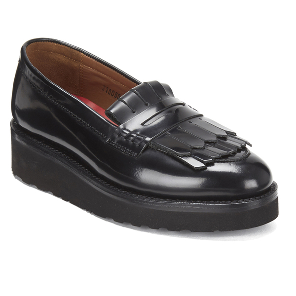 c05e0ee2a9a Grenson Women s Juno Leather Frill Loafers - Black Rub Off  Image 5
