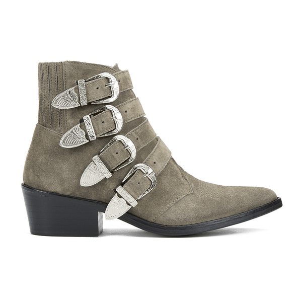 Toga Pulla Women's Buckle Side Suede Heeled Ankle Boots - Khaki Suede
