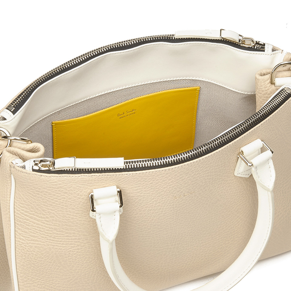 b28c5540d0 Paul Smith Accessories Women s Small Double Zip Leather Tote Bag - Cream   Image 4