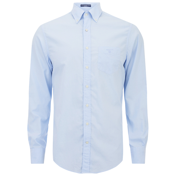 gant men 39 s washed pinpoint oxford long sleeve shirt ice