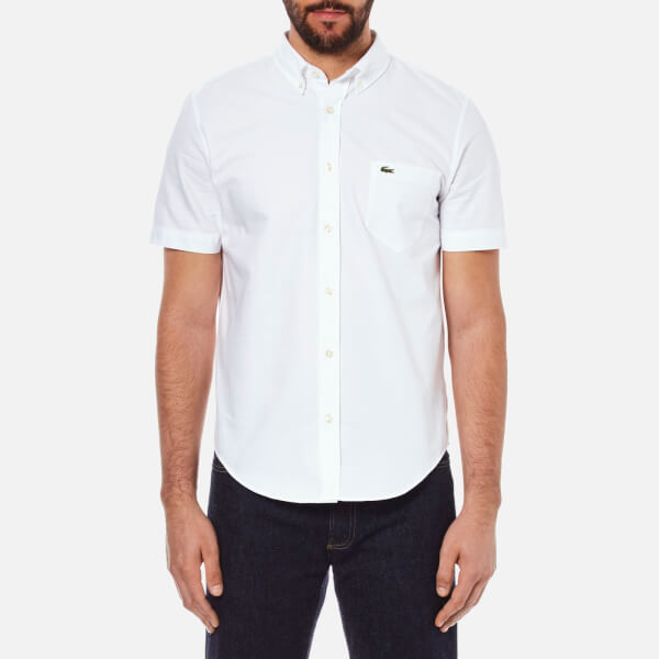 Lacoste Men's Short Sleeve Casual Shirt - White