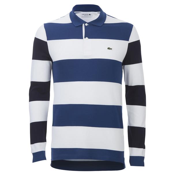 e7fb33879d3c Lacoste Men s Long Sleeve Striped Polo Shirt - Blue Clothing ...
