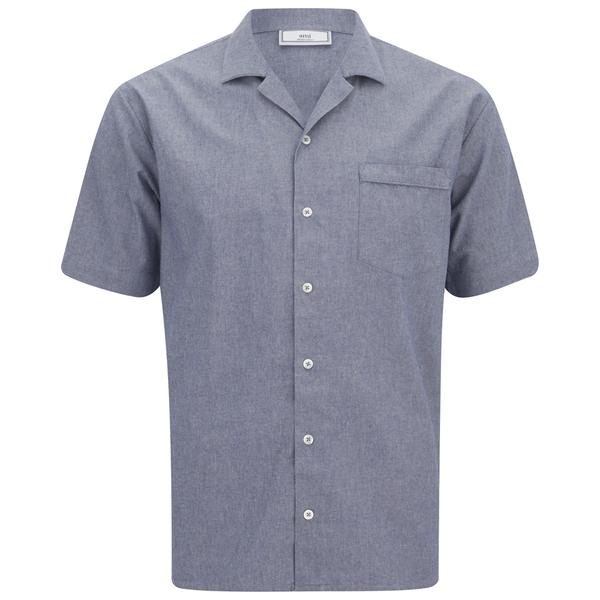 AMI Men's Collar Detail Short Sleeve Shirt - Chambray