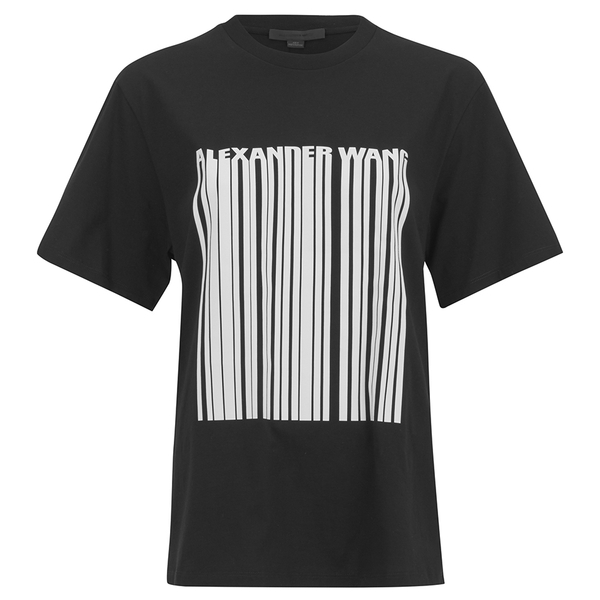 Alexander Wang Women 39 S Boxy Logo Barcode T Shirt Onyx
