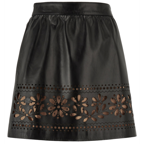 REDValentino Women's Cut Out Leather Skirt - Black