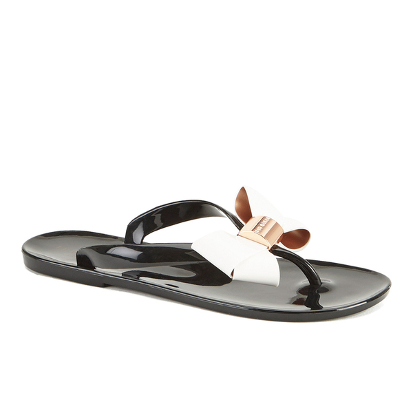 8242e6b40156 Ted Baker Women s Ettiea Jelly Bow Flip Flops - Black Cream  Image 4
