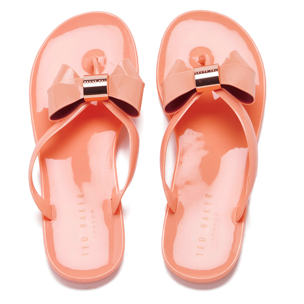 487009b79643a4 Ted Baker Women s Ettiea Jelly Bow Flip Flops - Light Orange  Image 1