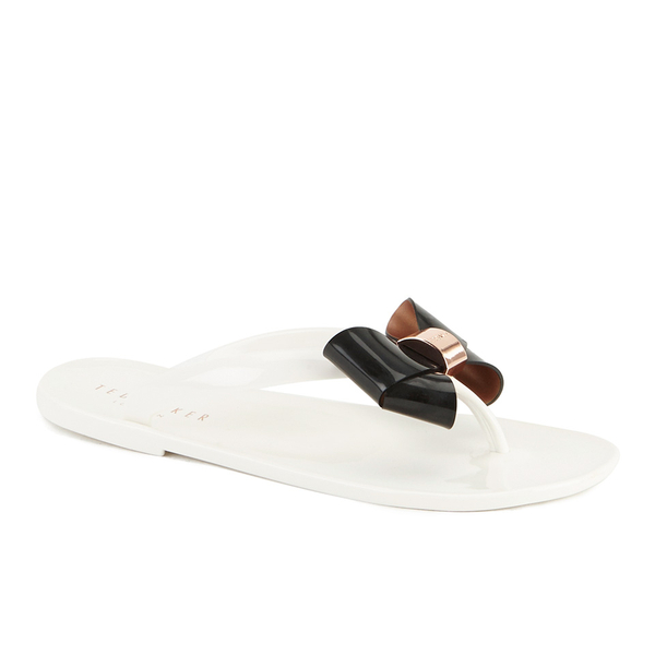 da2ea305e471 Ted Baker Women s Ettiea Jelly Bow Flip Flops - Cream Black  Image 5