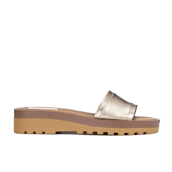 See By Chloé Women's Leather Slide Sandals - Gold