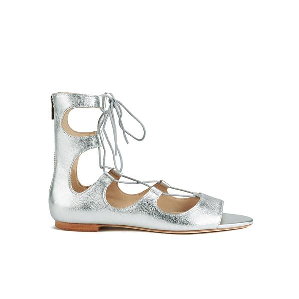 Loeffler Randall Women's Dani Front Tie Sandals - Silver