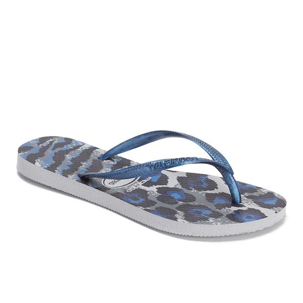 a05e7b83367a Havaianas Women s Slim Animals Flip Flops - Ice Grey Navy Blue  Image 3