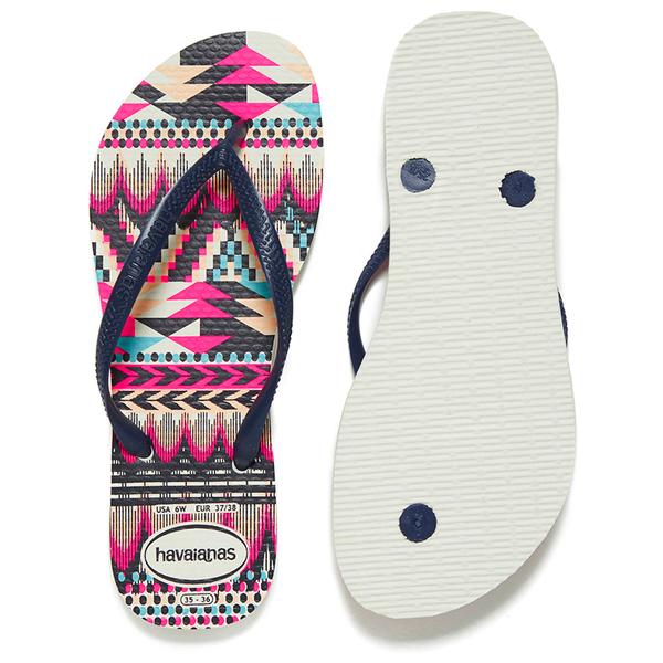 360229478ed7cb Havaianas Women s Slim Tribal Flip Flops - White Navy Blue  Image 5