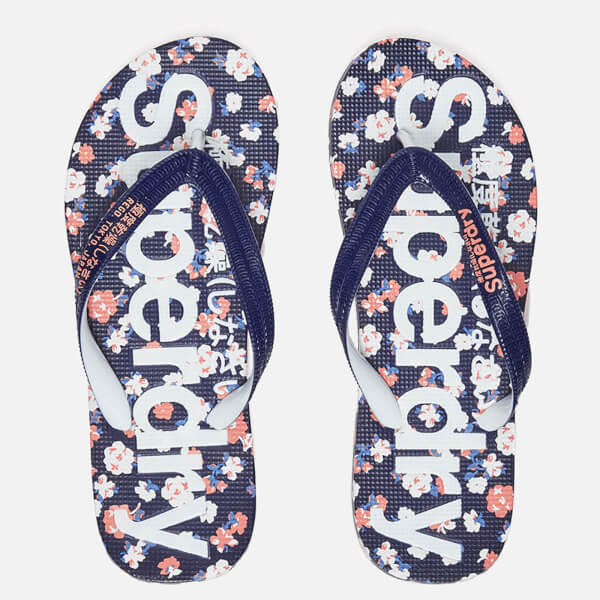 Superdry Women's Aop Flip Flops - Navy/Coral/Optic