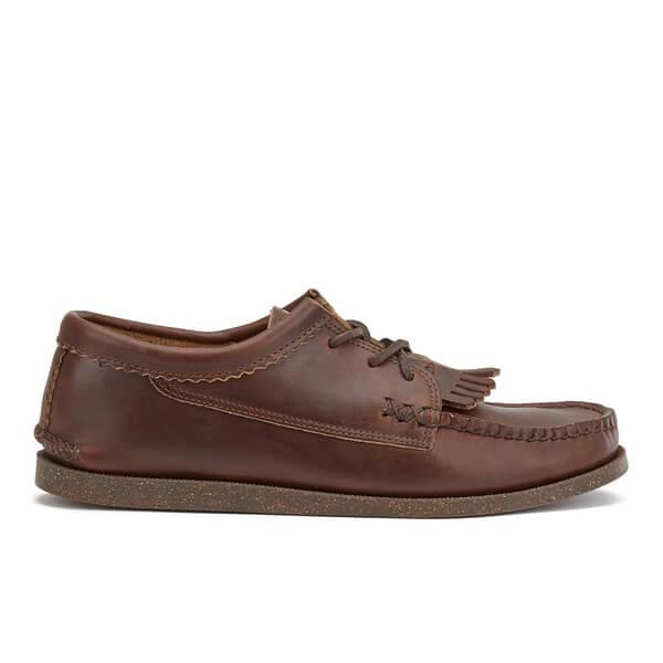 Yuketen Men's Blucher Kiltie Leather Vintage Boat Shoes - Brown