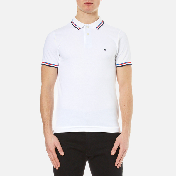 b085ae9d07dfe2 Tommy Hilfiger Men s Tommy Tipped Polo Shirt - Classic White  Image 1