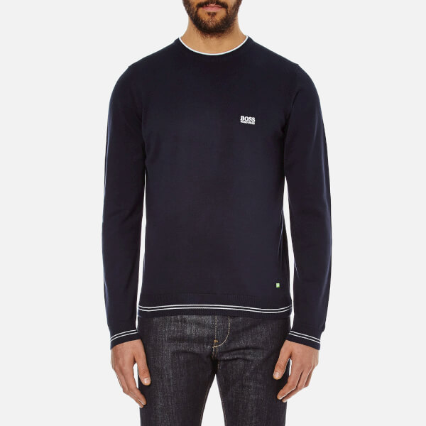 BOSS Green Men's Rime Crew Neck Knit Jumper - Navy