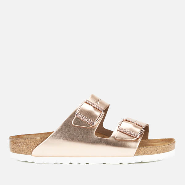 Birkenstock Women's Arizon Leather Slim Fit Double Strap Sandals - Metallic Copper