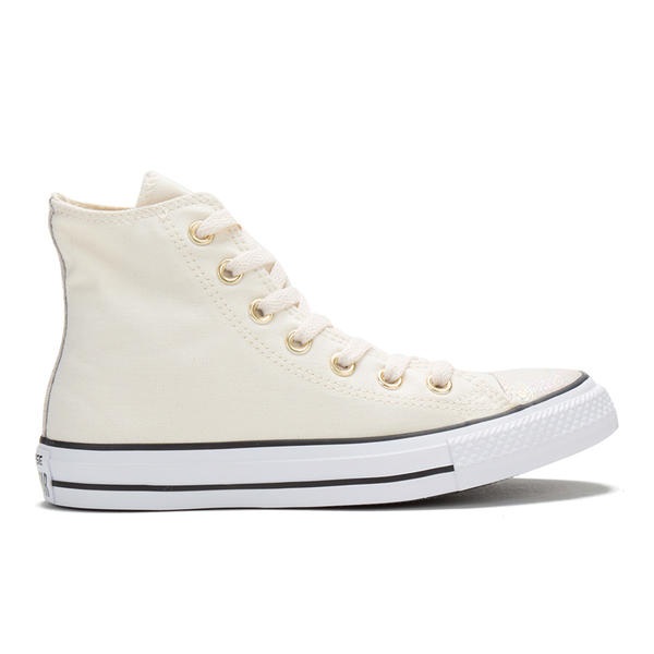 Converse Women's Chuck Taylor All Star Oil Slick Toe Cap Hi-Top Trainers - Parchment/Egret