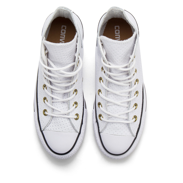 2ebc0142f3d1 Converse Women s Chuck Taylor All Star Perforated Leather Hi-Top Trainers -  White Biscuit
