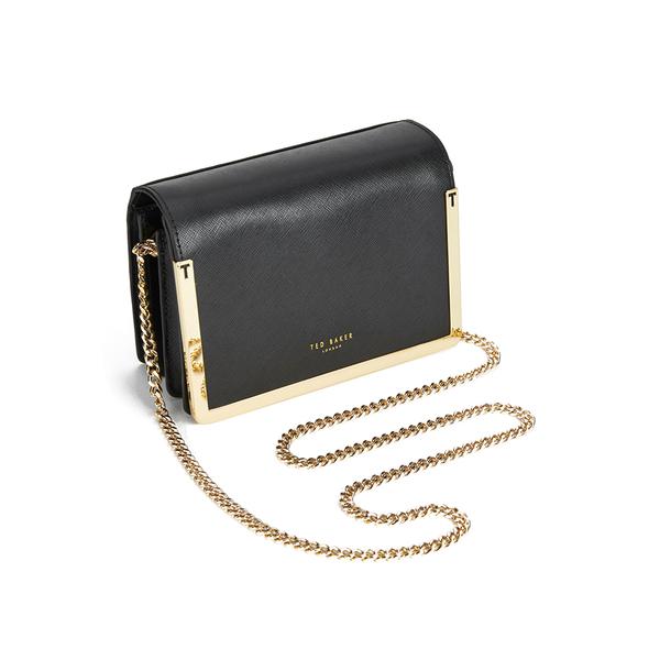 6b7fe8ff5 Ted Baker Women s Kamara Metal Bar Crosshatch Small Leather Shoulder Bag -  Black  Image 2