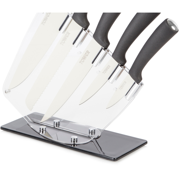 tower idt81504 5 piece knife set with acrylic stand. Black Bedroom Furniture Sets. Home Design Ideas