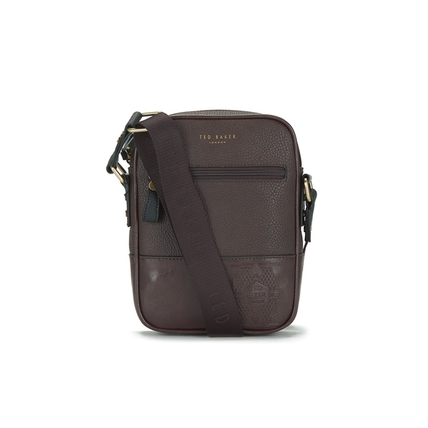 Ted Baker Men s Megga Small Embossed Flight Bag - Chocolate  Image 1 acc6493dce5a3