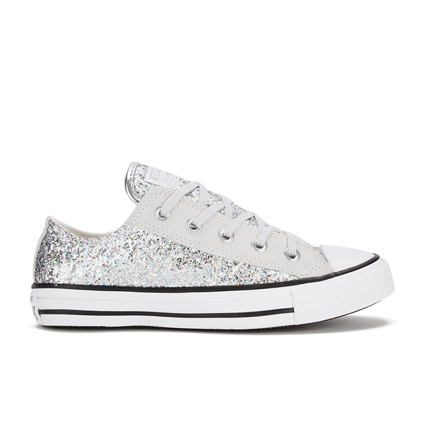 7fa629c0b9ce Converse Women s Chuck Taylor Textile Glitter OX Trainers - Silver Mouse White   Image