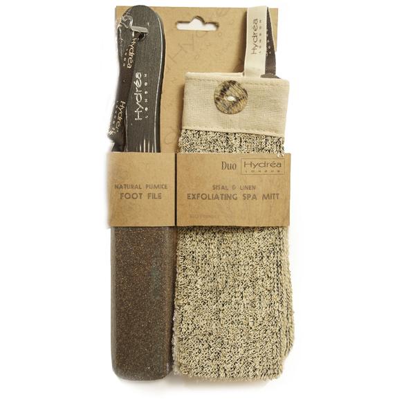 Hydrea London Natural Pumice Foot File & Exfoliating Spa Mitt