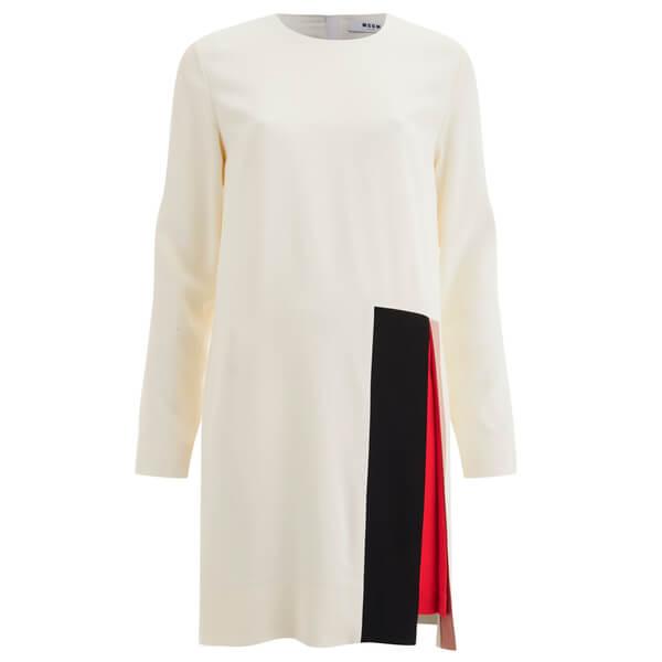 MSGM Women's Contrast Colour Insert Dress - White