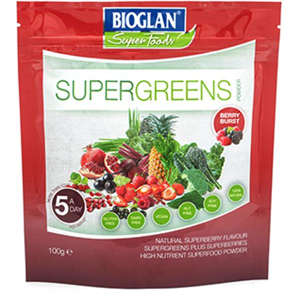 Bioglan Superfoods Supergreens Berry Burst - 100g