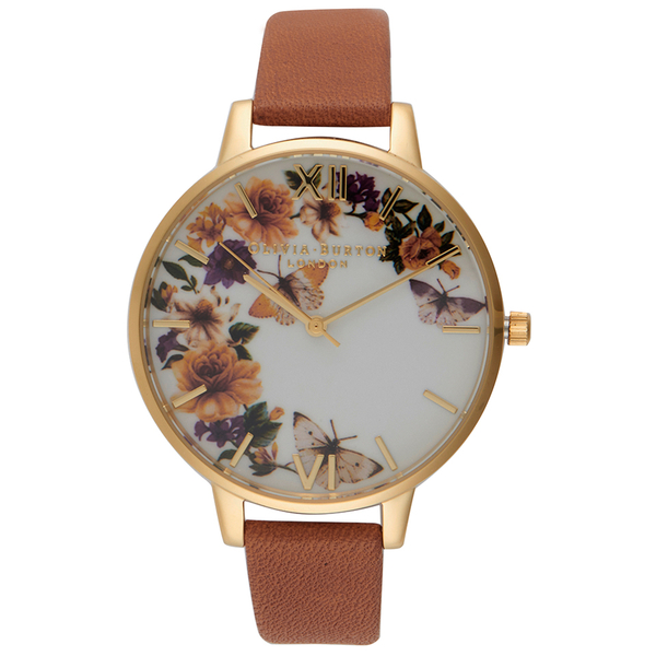 Olivia Burton Women's Flower Festival Watch - Tan/Gold