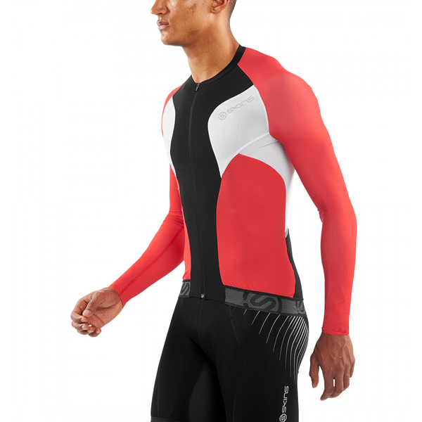 Skins Cycle Men s Tremola Due Long Sleeve Jersey - Black White Red  Image 3e9de6709