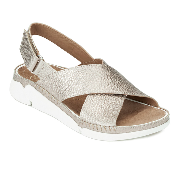 5a1166a16f6f Clarks Women s Tri Alexia Cross Front Leather Sandals - Gold  Image 4
