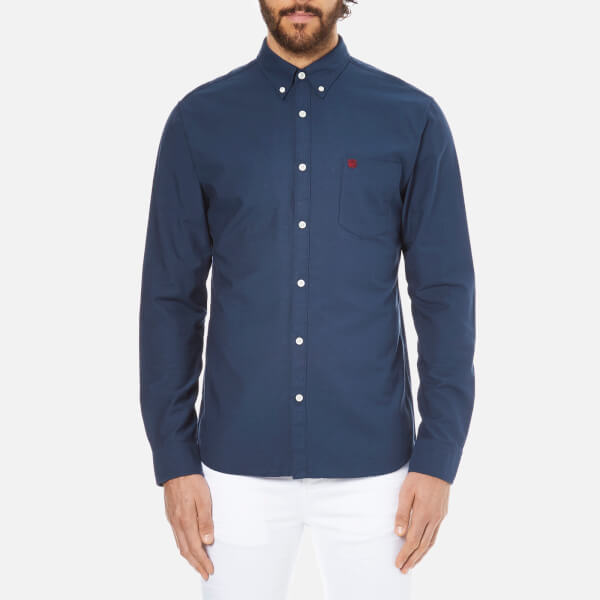 Selected Homme Men's Collect Long Sleeve Cotton Shirt - Navy Blazer