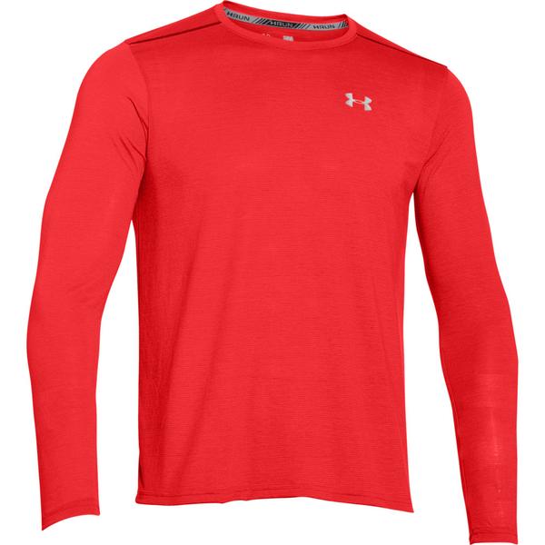 Under armour men 39 s streaker long sleeve t shirt red for Yellow under armour long sleeve shirt