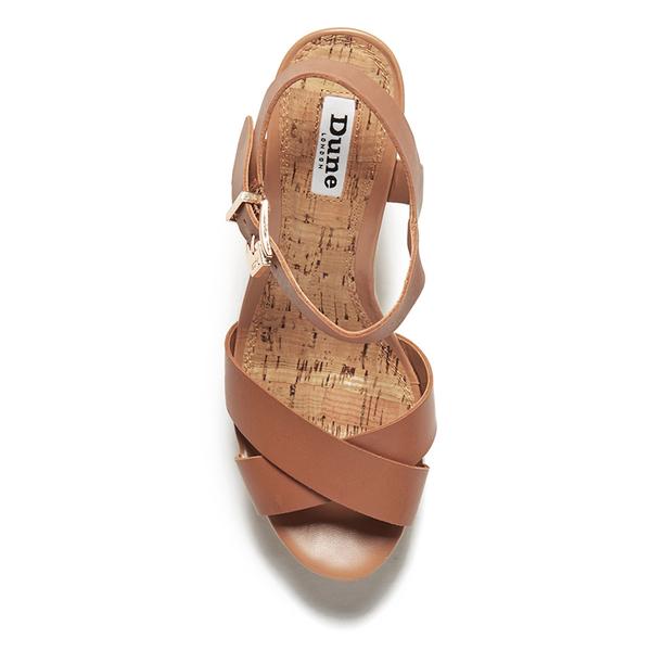 Dune Women S Iyla Leather Platform Heeled Sandals Tan