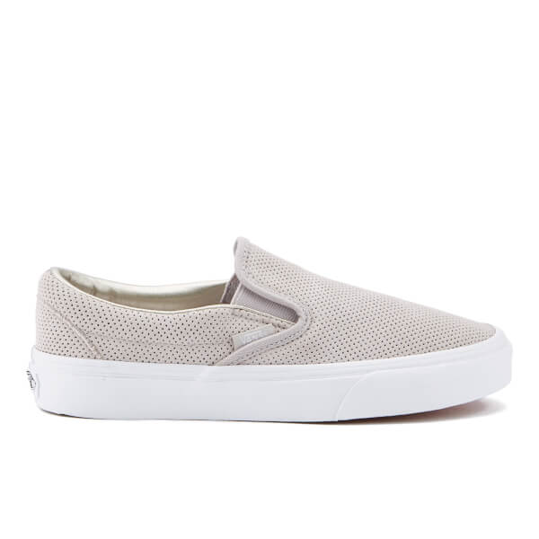 Vans Women's Classic Slip On Perforated Suede Trainers - Silver Cloud/True White