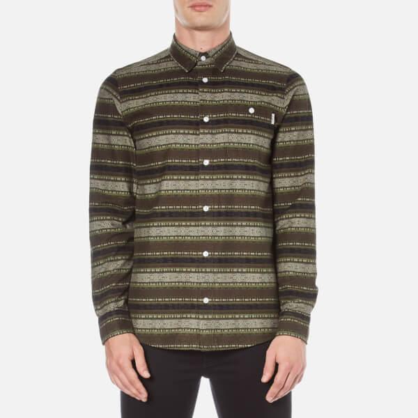 Carhartt Men's Long Sleeve Printed Shirt - Green Stone Wash